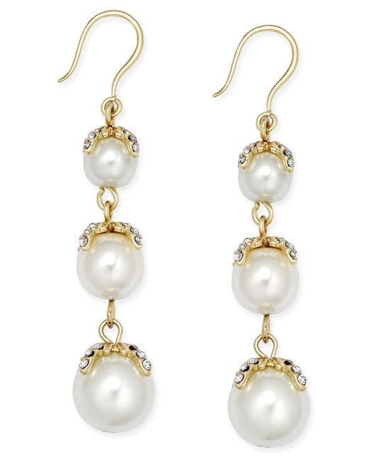 Charter Club | Metallic Gold-tone Imitation Pearl Linear Earrings | Lyst