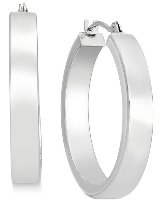 Macy's - Metallic Bold Hoop Earrings In 10k White Gold - Lyst