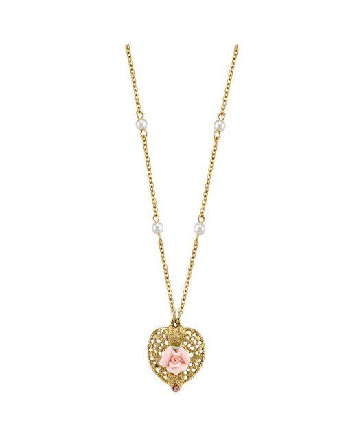 "2028 - Metallic Gold-tone Pink Crystal Heart And Pink Porcelain Rose Filigree Necklace 16"" Adjustable - Lyst"