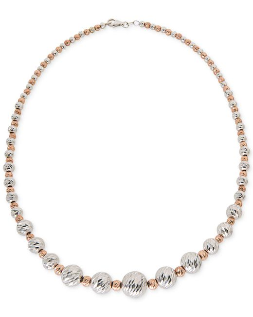 Giani Bernini - Metallic Two-tone Textured Bead Collar Necklace In Sterling Silver And 18k Gold-plate - Lyst