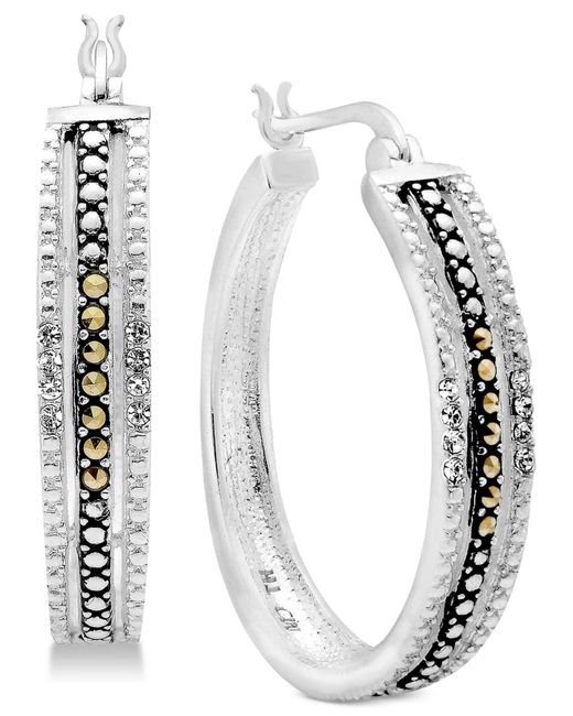 Macy's - Metallic Marcasite & Crystal Patterned Hoop Earrings In Fine Silver-plate - Lyst