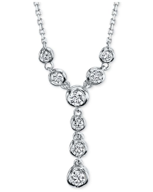 Macy's | Metallic Sirena Diamond Lariat Necklace (1/4 Ct. T.w.) In 14k White Or Yellow Gold | Lyst