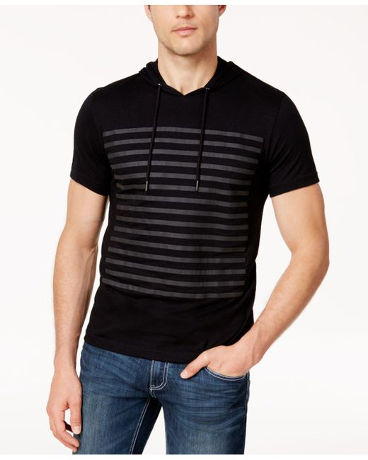 INC International Concepts - Black Men's Striped Short-sleeve Hoodie for Men - Lyst