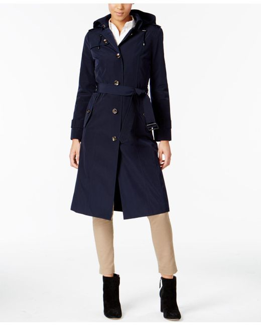London Fog | Blue Hooded Belted Trench Coat | Lyst