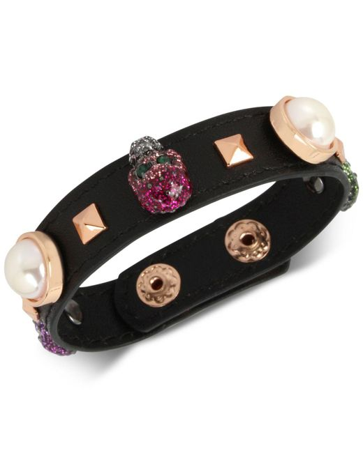Betsey Johnson - Multicolor Rose Gold Skull Leather Bracelet - Lyst