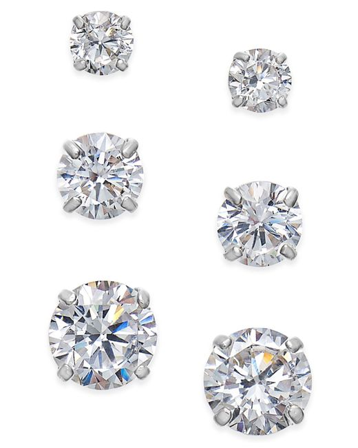 Macy's - Metallic Cubic Zirconia 3-pc. Set Graduated Stud Earrings In 14k Gold Or 14k White Gold - Lyst