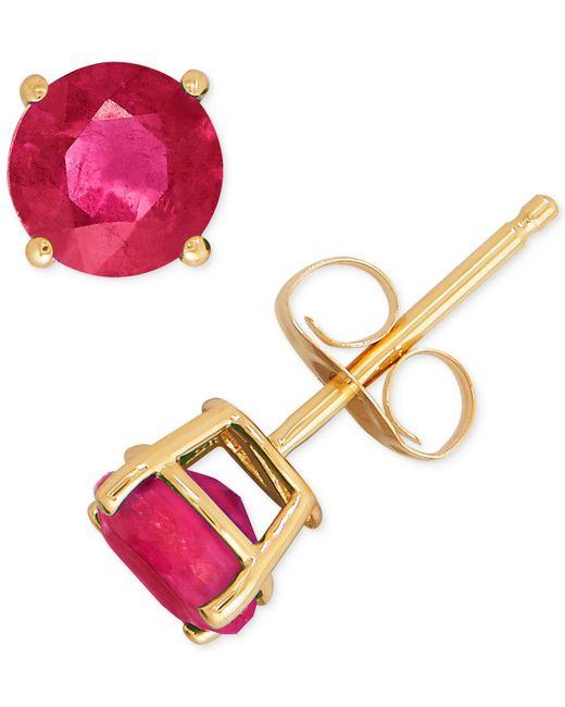 Macy's - Red Ruby Stud Earrings (1-1/3 Ct. T.w.) In 14k Gold - Lyst