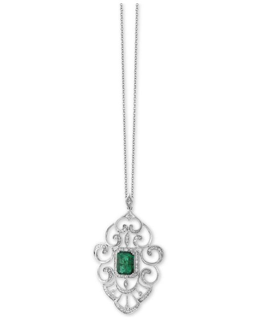Effy Collection - Emerald (1-3/8 Ct. T.w.) And Diamond (1/3 Ct. T.w.) Pendant Necklace In 14k White Gold - Lyst