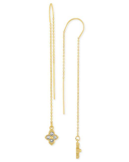 RACHEL Rachel Roy - Metallic Gold-tone Crystal Studded Threader Earrings - Lyst