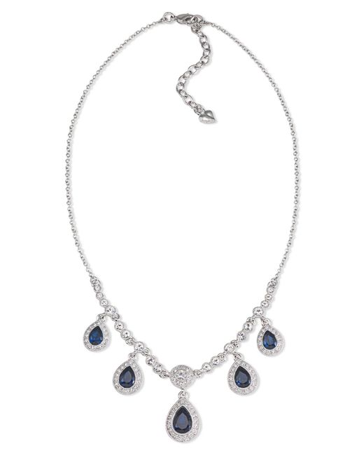 Carolee - Gray Necklace, Silver-tone Blue Stone Pear Drop Frontal Necklace - Lyst
