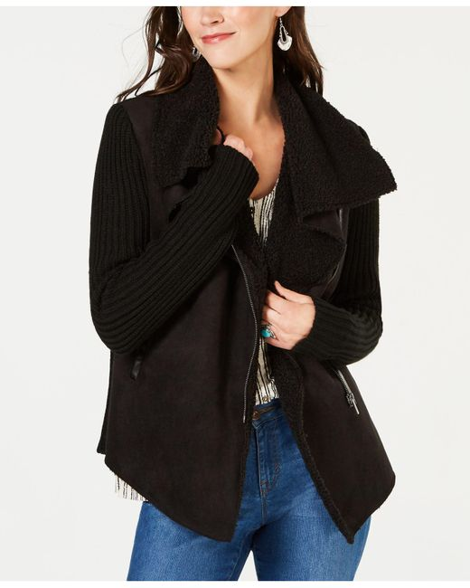 Style & Co. - Black Faux-shearling Draped-front Jacket, Created For Macy's - Lyst