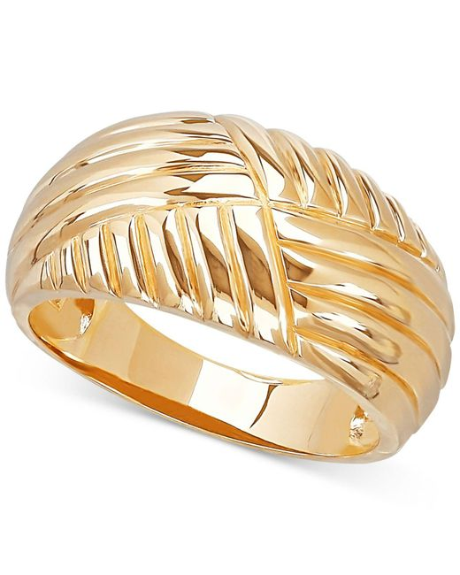 Macy's | Metallic Textured Dome Ring In 10k Gold | Lyst