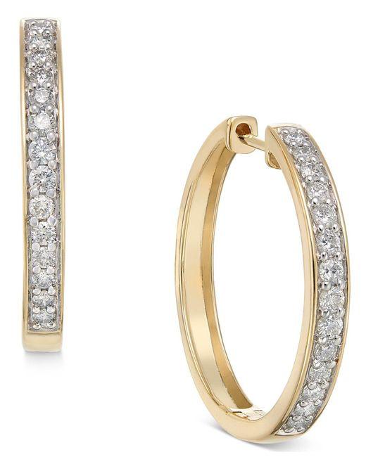 Macy's - Metallic Diamond Hoop Earrings (1/2 Ct. T.w.) In 14k White Or Yellow Gold - Lyst