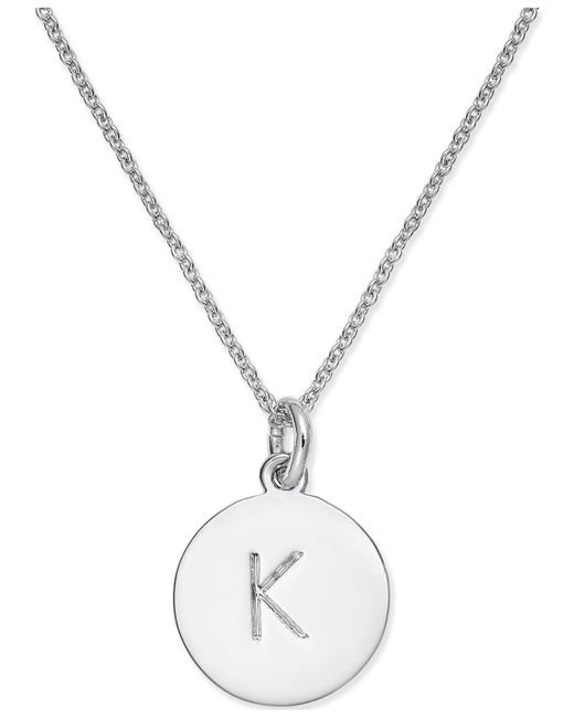 "Kate Spade - Metallic Silver-tone Disc Initials 18"" Pendant Necklace - Lyst"