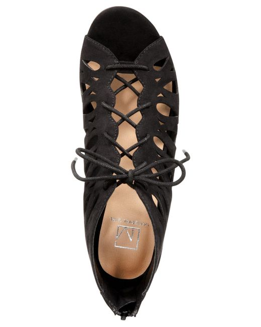 Material Girl Mg35 Harlie Perforated Lace Up Wedge