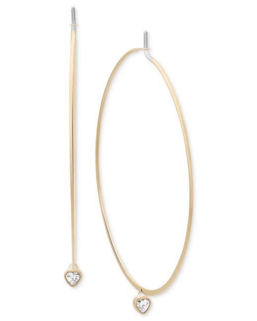 Michael Kors | Metallic Crystal Heart Charm Hoop Earrings | Lyst