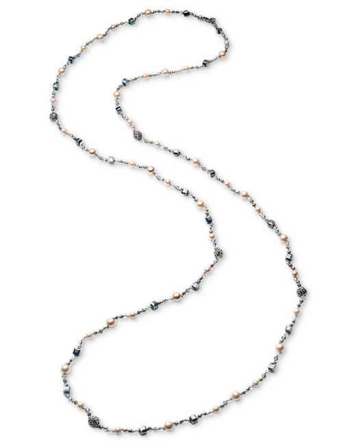 Carolee - Metallic Hematite-tone Bead & Imitation Pearl Long Necklace - Lyst
