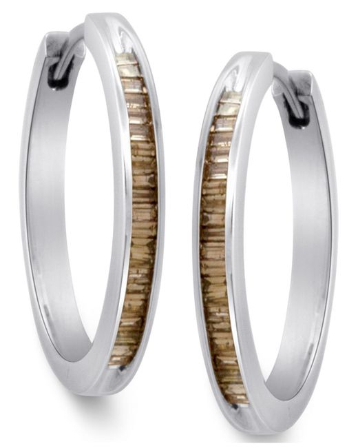 Macy's - Metallic Sterling Silver Earrings, Champagne Diamond Baguette Hoop Earrings (1/4 Ct. T.w.) - Lyst