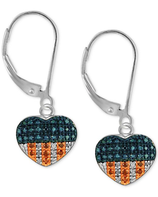 Macy's - Multicolor Sterling Silver Earrings, Red Diamond And Diamond Accent Flag Heart Earrings (1/3 Ct. T.w.) - Lyst
