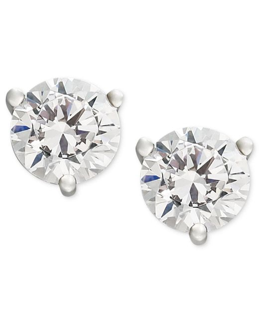 Macy's - Metallic Near Colorless Certified Diamond Stud Earrings In 18k White Or Yellow Gold (1 Ct. T.w.) - Lyst