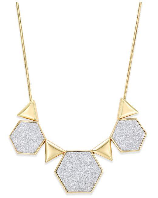ABS By Allen Schwartz | Metallic Gold-tone Glitter Geometric Collar Necklace | Lyst