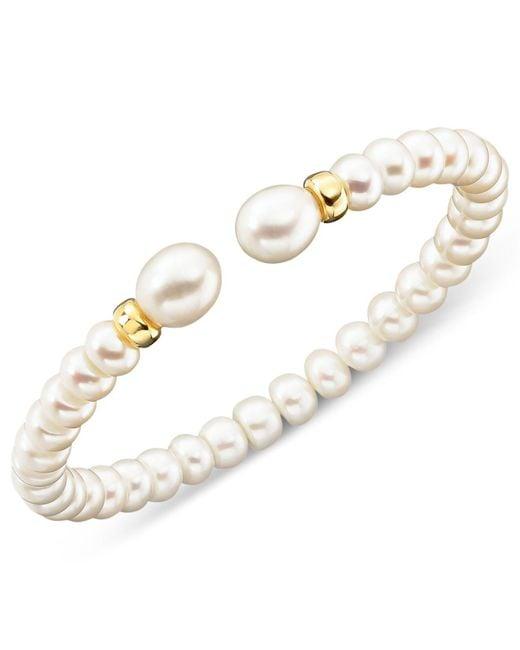 Macy's - Metallic Cultured Freshwater Pearl (7mm) Rondelle Bracelet In 14k Gold - Lyst