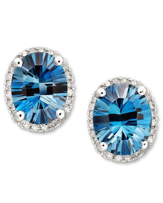 Macy's - London Blue Topaz (4-1/2 Ct. T.w.) And Diamond (1/8 Ct. T.w.) Oval Stud Earrings In 14k White Gold - Lyst