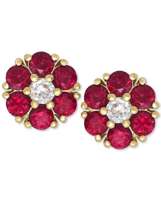 Macy's - Red Ruby (1-1/5 Ct. T.w.) And White Sapphire (1/6 Ct. T.w.) Flower Stud Earrings In 14k Gold - Lyst