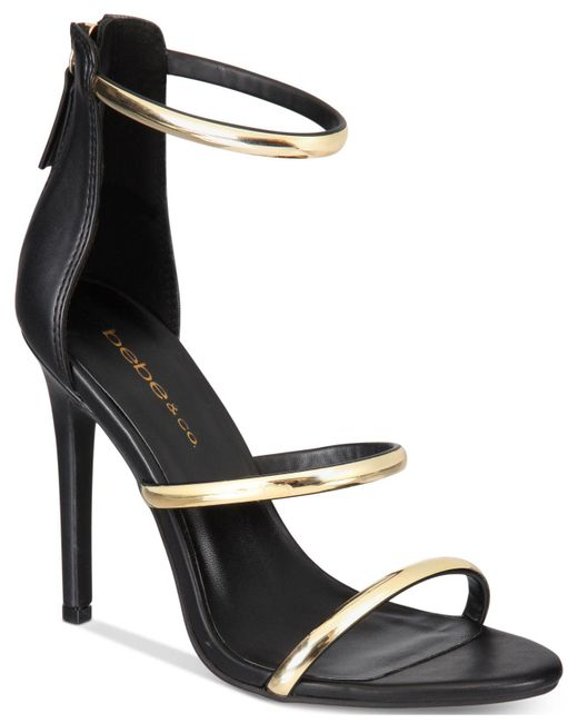 Bebe - Black Berdine Ankle-strap Dress Sandals - Lyst