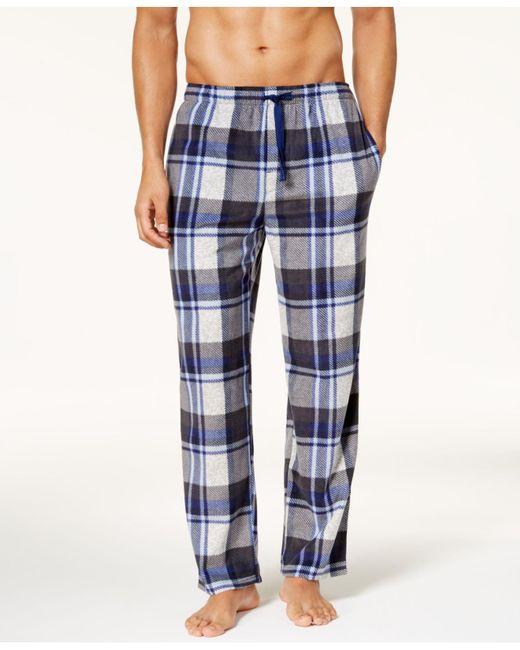 Perry Ellis - Blue Men's Plaid Fleece Pajama Pants for Men - Lyst