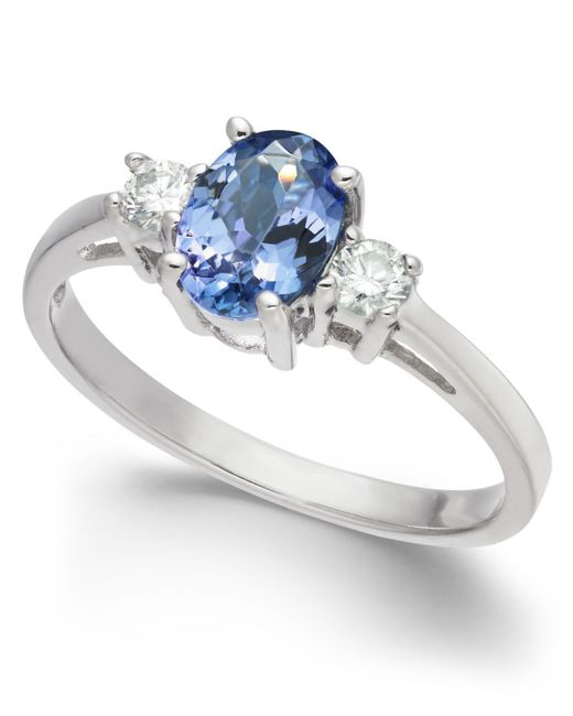 Macy's - Metallic Tanzanite (1 Ct. T.w.) & Diamond (1/6 Ct. T.w.) Ring In 14k White Gold - Lyst