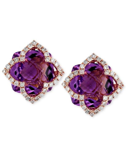 Effy Collection - Multicolor Amethyst (6-1/4 Ct. T.w.) And Diamond (1/3 Ct. T.w.) Clover Stud Earrings In 14k Rose Gold - Lyst