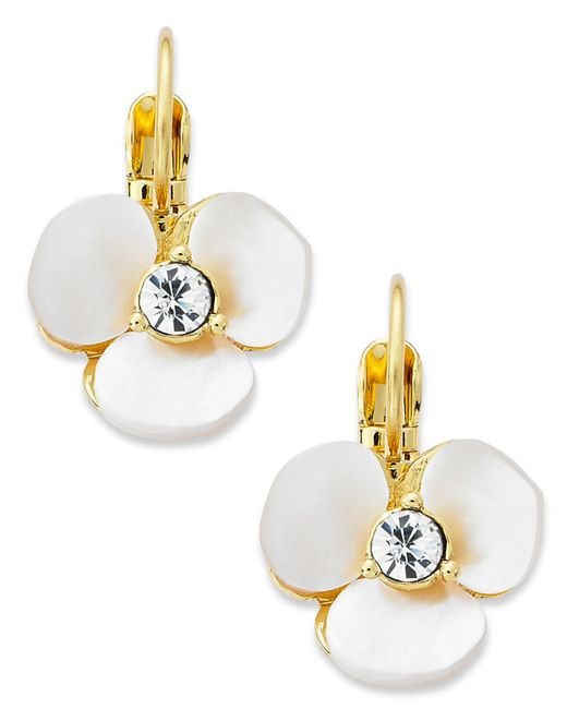 Kate Spade - White Earrings, Gold-tone Cream Disco Pansy Flower Leverback Earrings - Lyst