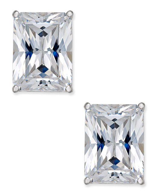 Arabella | Multicolor Swarovski Zirconia Emerald-shape Stud Earrings In 14k White Gold | Lyst