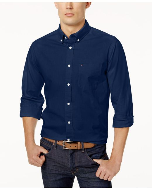 Tommy Hilfiger - Blue New England Solid Oxford Shirt for Men - Lyst
