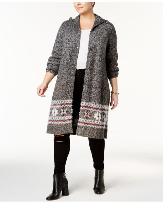 Style & co. Fair Isle Hooded Cardigan Jacket in Black - Save 39 ...