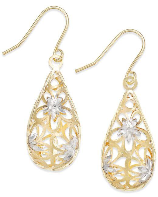 Macy's - Metallic Two-tone Floral Teardrop Drop Earrings In 10k Gold - Lyst