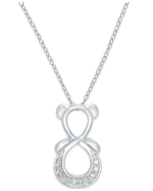 Macy's - Metallic Diamond Infinity Bear Pendant Necklace (1/10 Ct. T.w.) In Sterling Silver - Lyst