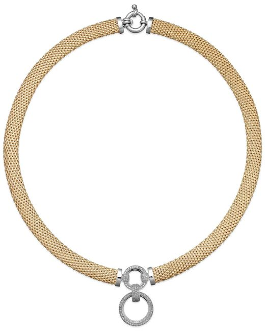 Macy's - Metallic Diamond Circle Pendant Mesh Necklace In 14k Vermeil And Sterling Silver (3/4 Ct. T.w.) - Lyst