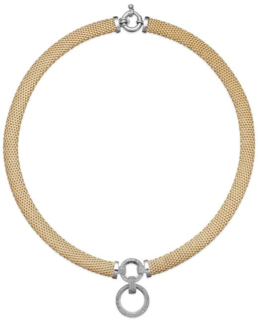 Macy's - Metallic Diamond Circle Pendant Mesh Necklace In Vermeil And Sterling Silver (3/4 Ct. T.w.) - Lyst