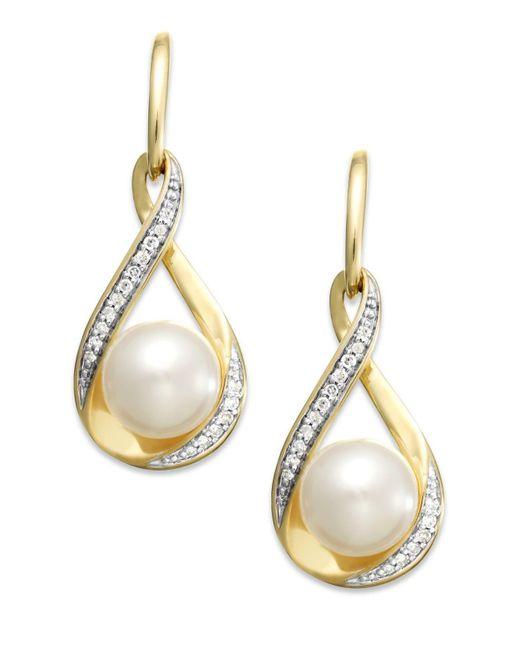 Macy's   Metallic Cultured Freshwater Pearl (7mm) And Diamond (1/10 Ct. T.w.) Earrings In 14k Gold   Lyst
