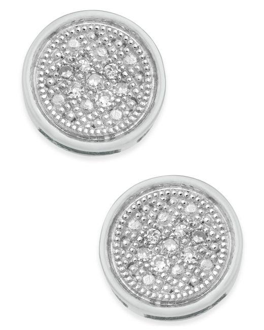 Macy's - Metallic Diamond Accent Button Stud Earrings - Lyst