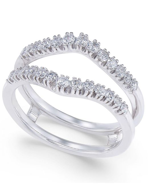 Macy's - Metallic Diamond Curved Solitaire Enhancer Ring Guard (3/8 Ct. T.w.) In 14k White Gold - Lyst