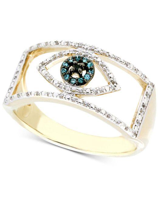 Wrapped in Love | Metallic Diamond Evil Eye Ring (1/6 Ct. T.w.) In 10k Gold | Lyst