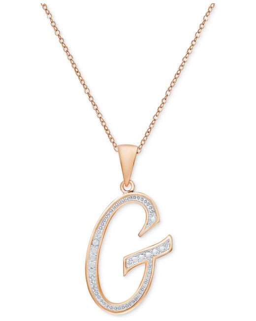 Macy's | Metallic Diamond Accent Initial Pendant Necklace In Rose Gold-plate | Lyst