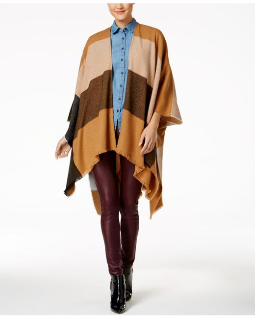 Anne Klein | Brown Abstract Colorblocked Plaid Split Cape | Lyst