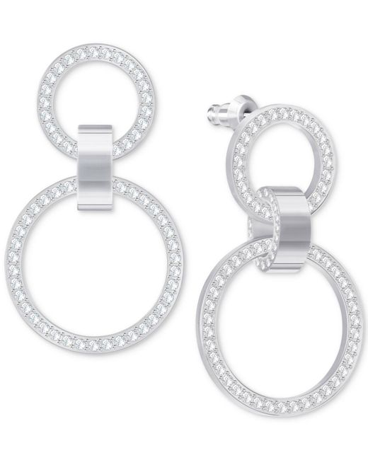 Swarovski - Metallic Pavé Double-hoop Chandelier Earrings - Lyst