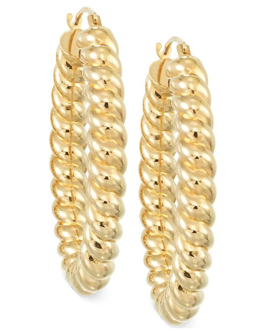 Macy's - Metallic Rope Hoop Earrings In 14k Gold Over Resin - Lyst