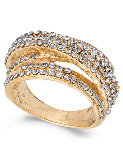 INC International Concepts | Metallic Gold-tone Pavé Swirl Multi-row Ring | Lyst
