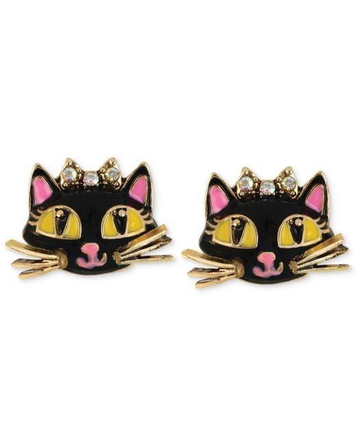 Betsey Johnson - Multicolor Antique Gold-tone Cat Stud Earrings - Lyst